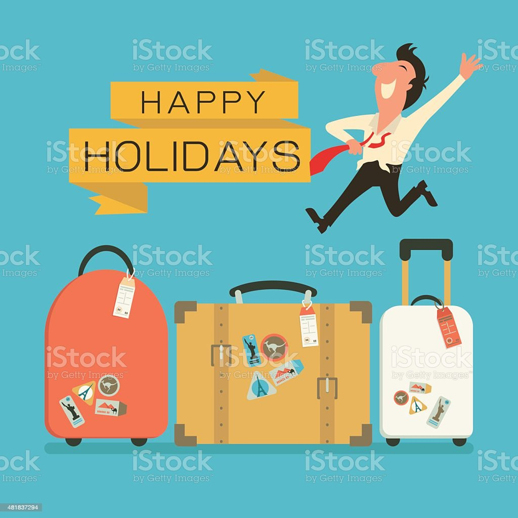 Luggage for holiday vector art illustration
