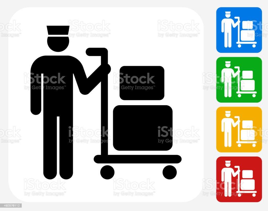 Luggage Icon Flat Graphic Design vector art illustration
