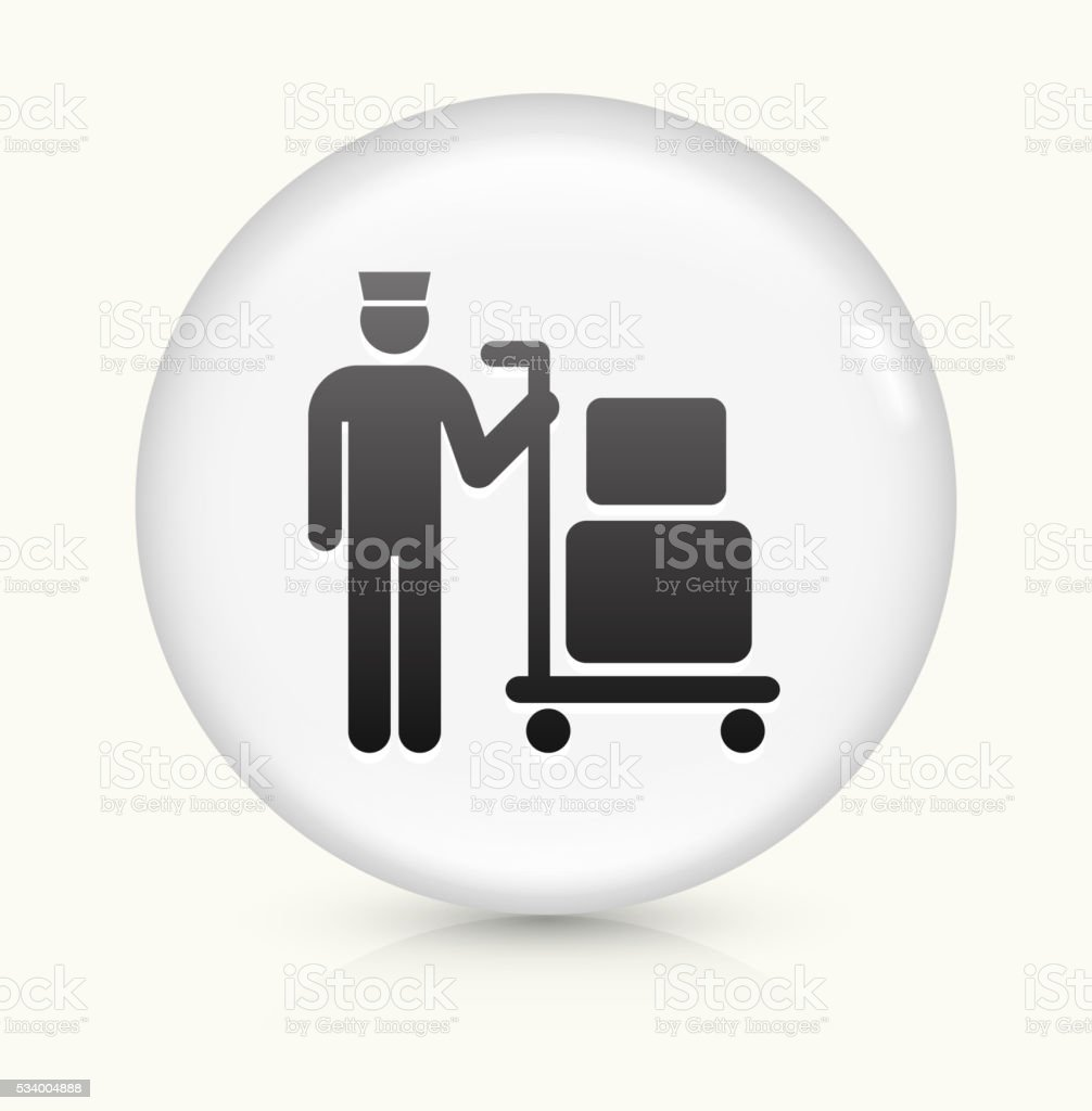 Luggage icon on white round vector button vector art illustration