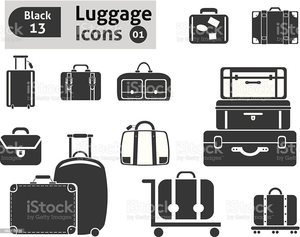 luggage icons vector art illustration