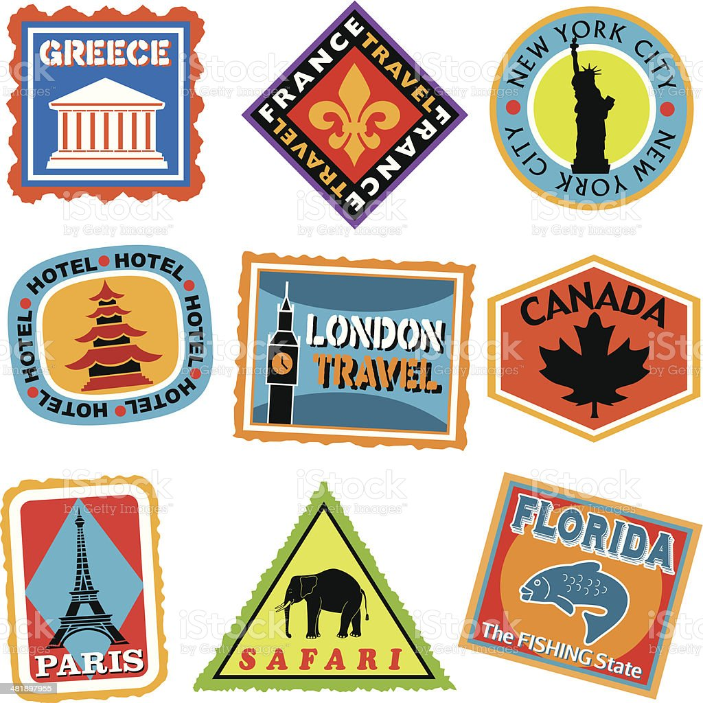 luggage labels or travel stickers vector art illustration