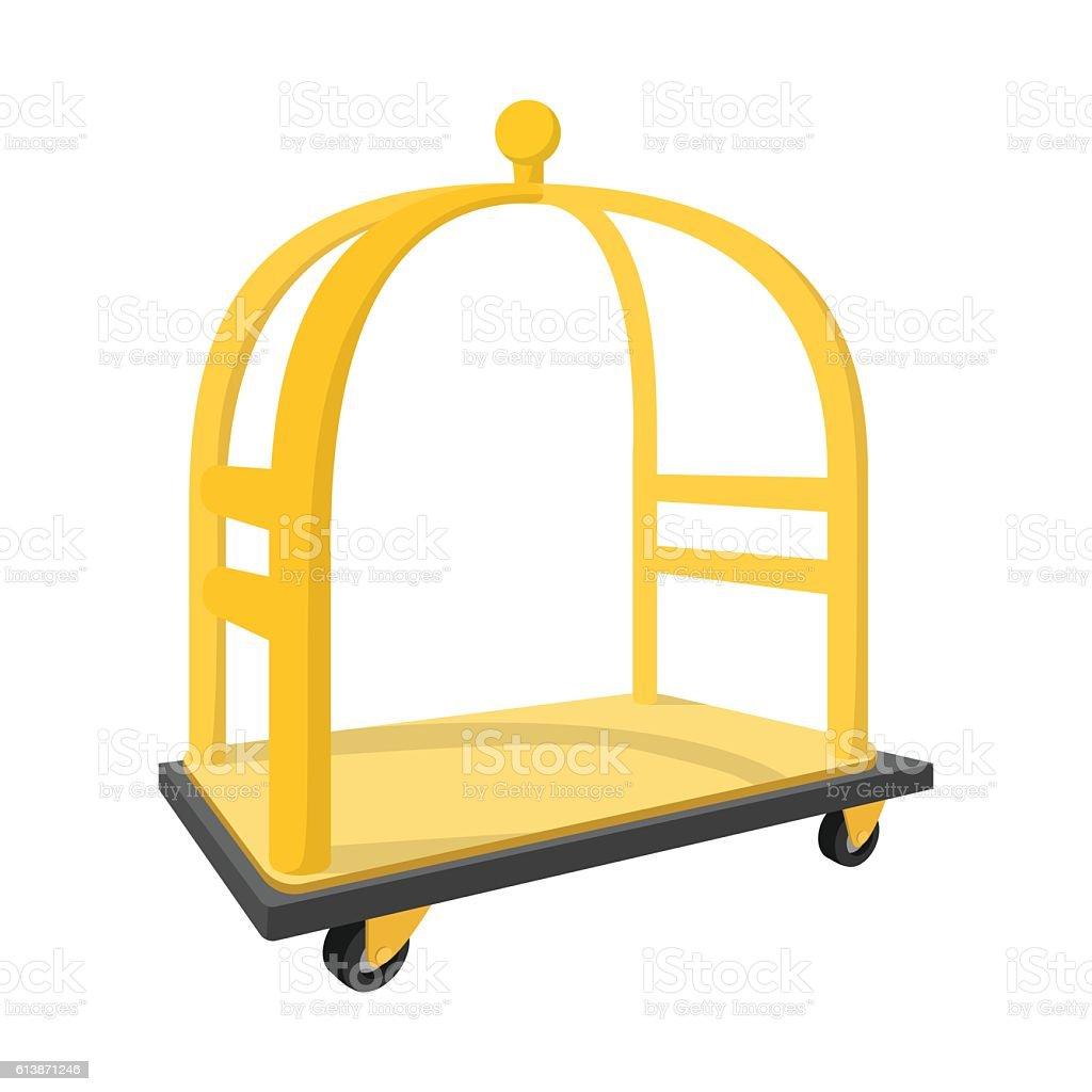 Luggage trolley cartoon icon vector art illustration