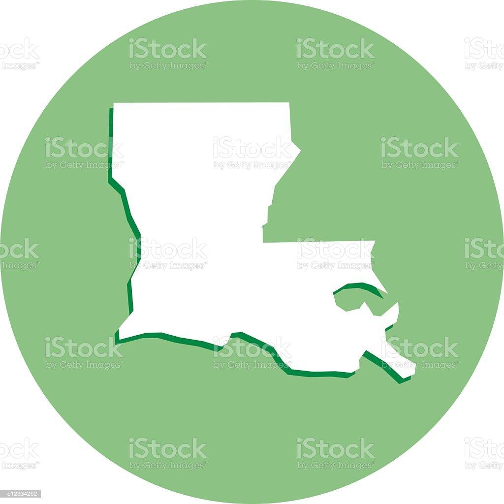 Luisiana Round Map Icon vector art illustration