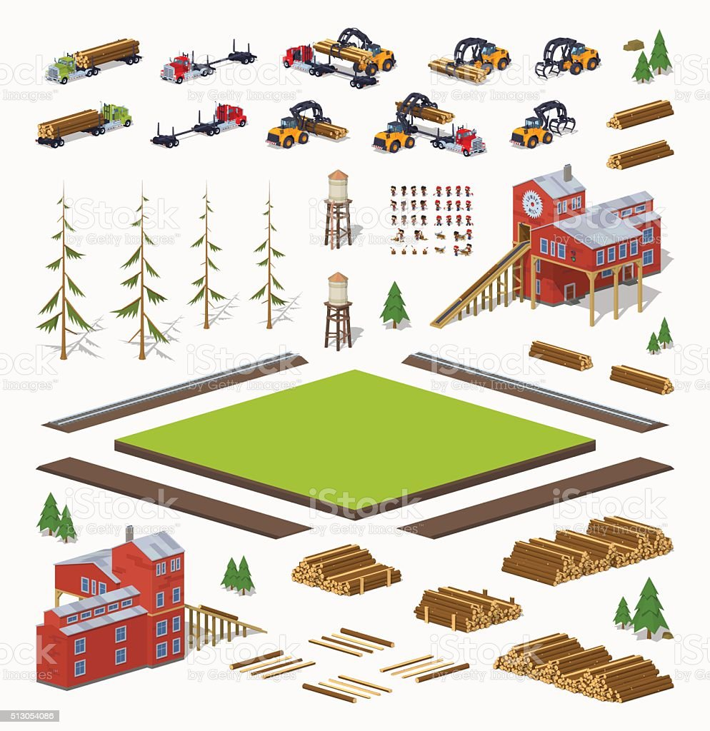 Lumber mill construction set vector art illustration
