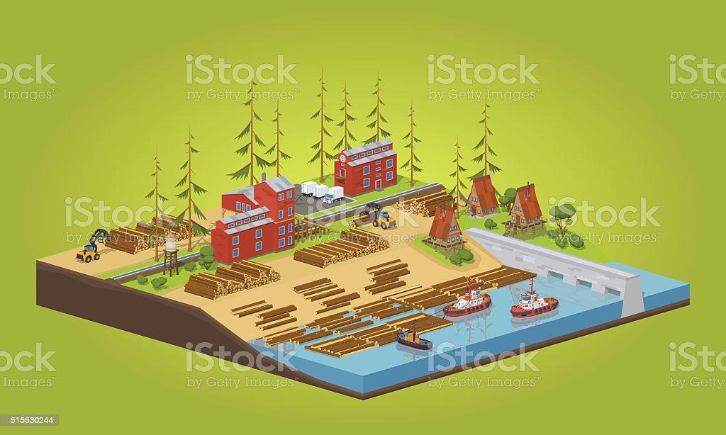 Lumber mill near the river vector art illustration