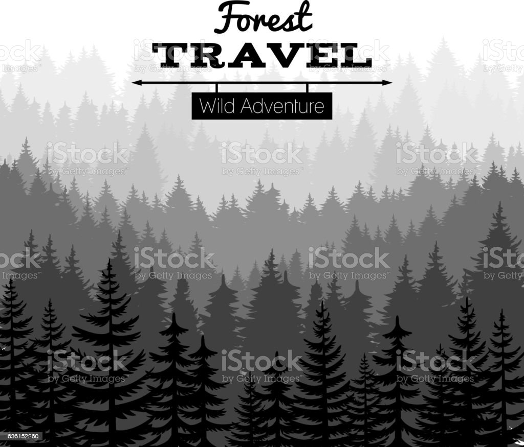 Lumber sketch nature poster with mountains vector art illustration