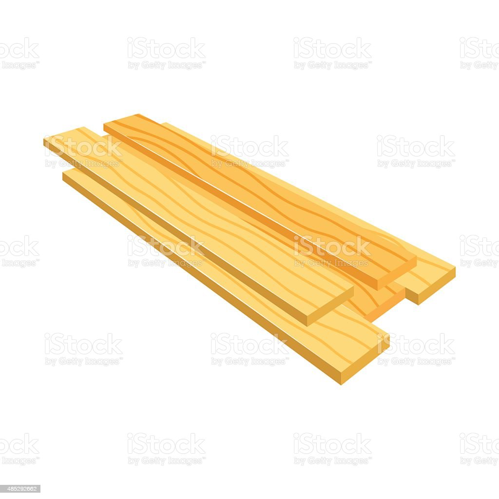 Lumber (timber), stack of wooden planks (bars), vector vector art illustration