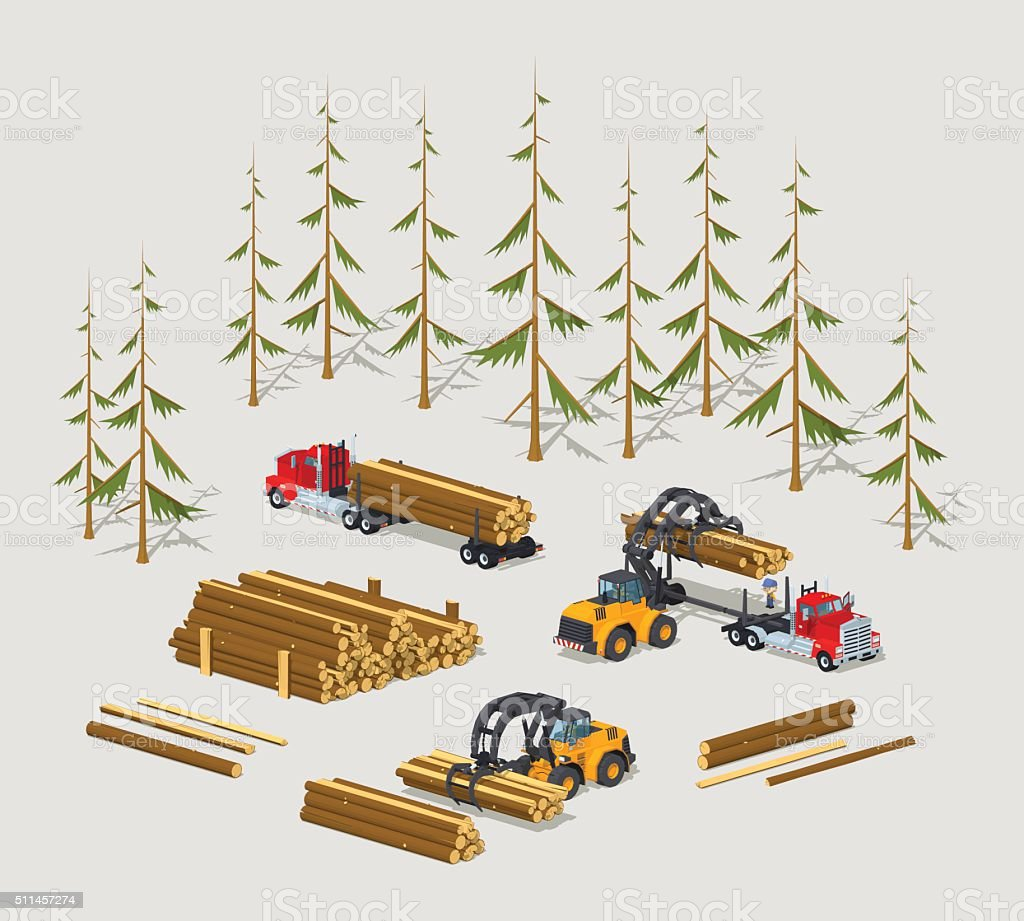 Lumber stock. Logs loading on trucks vector art illustration