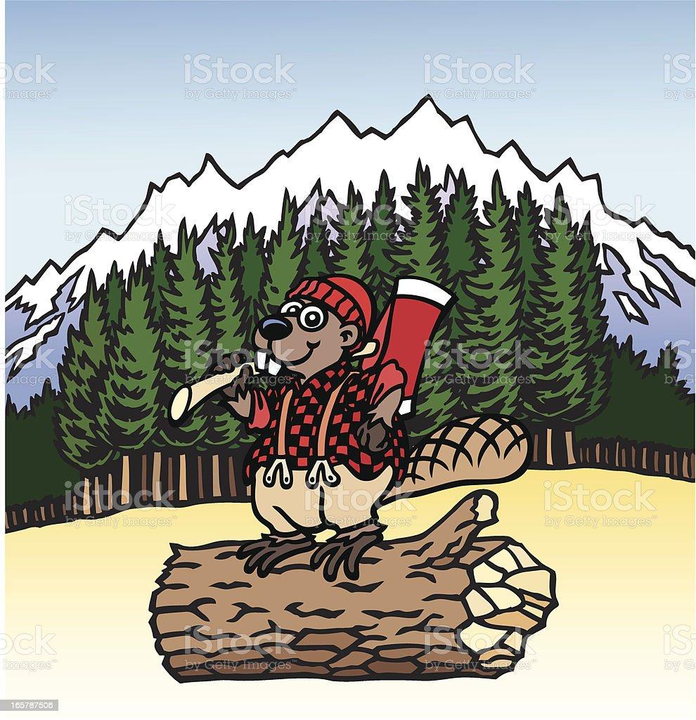 Lumberjack Beaver royalty-free stock vector art