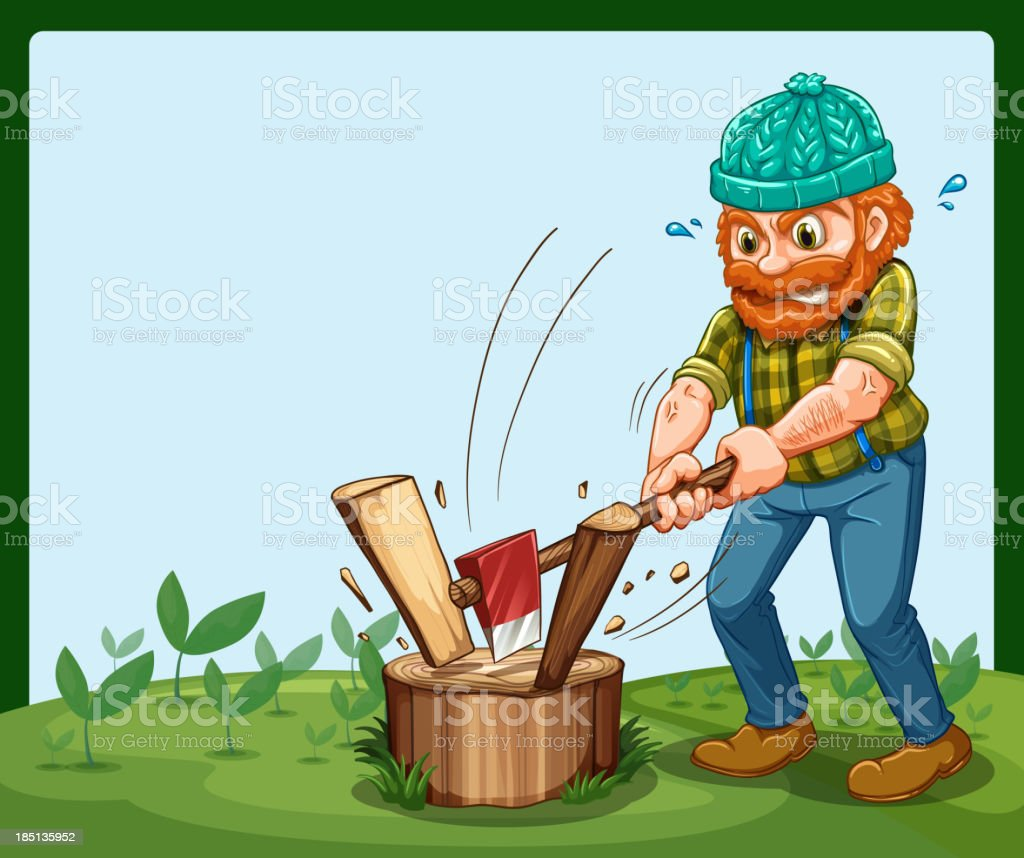 lumberjack chopping the wood royalty-free stock vector art