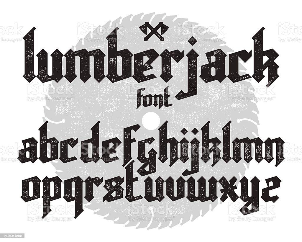 Lumberjack gothic font vector art illustration