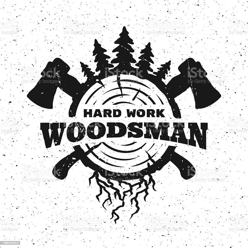 lumberjack hard work. vector art illustration