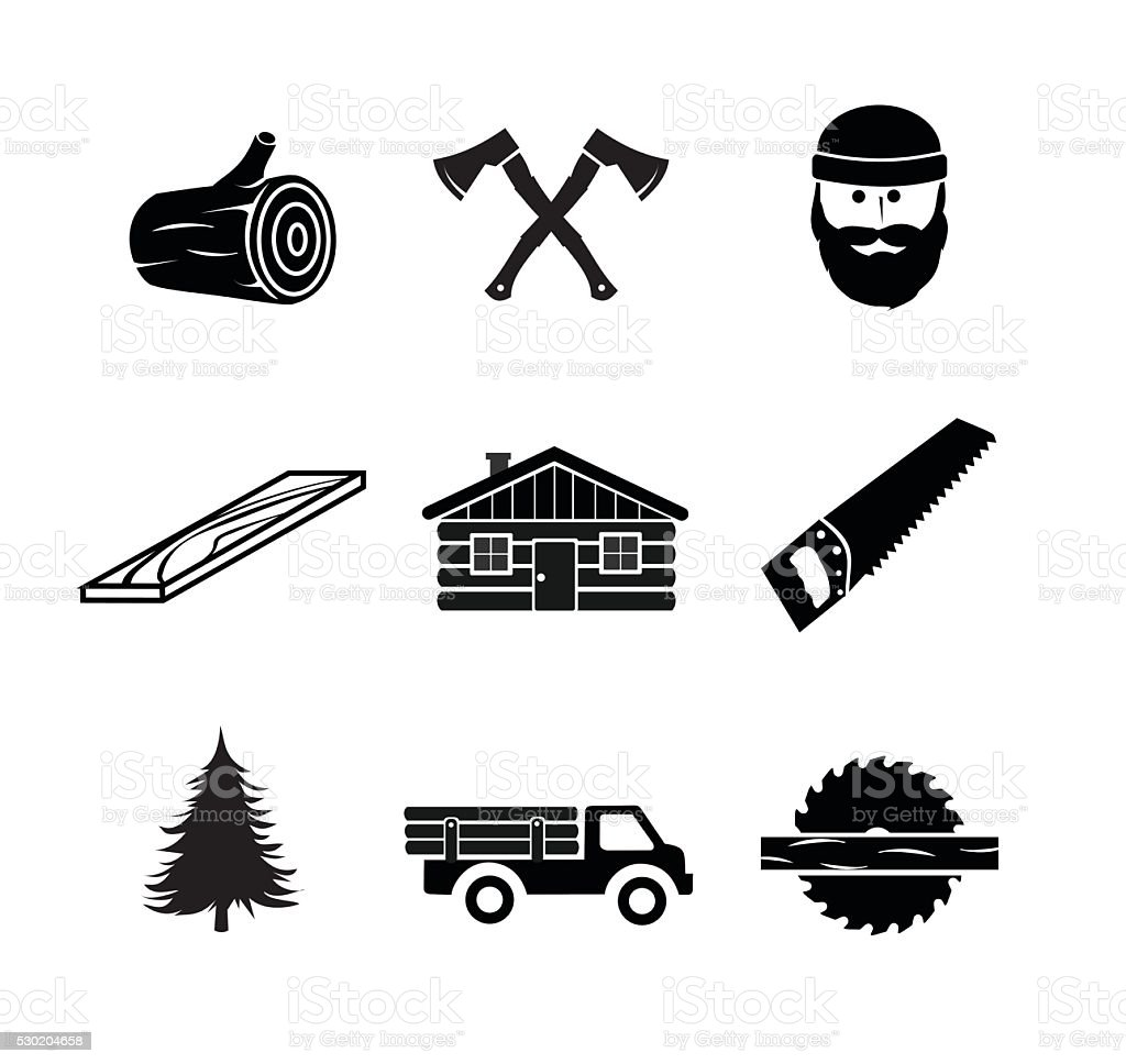 Lumberjack icon set illustration vector art illustration