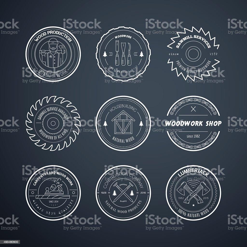 Lumberjack Icons vector art illustration