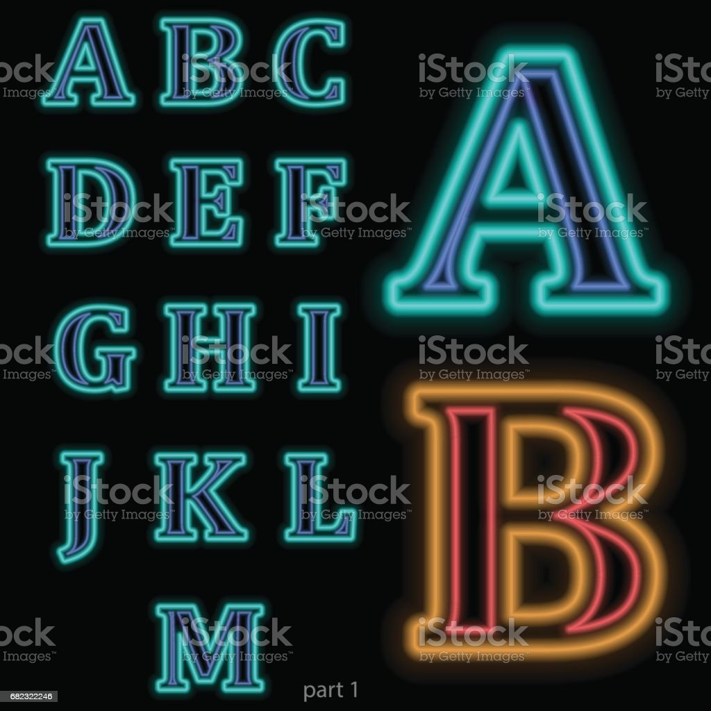 Luminous neon alphabet Vector font. The color of light is easily changed. Neon letters on a dark blue background isolated. Latin characters. Part 1 vector art illustration