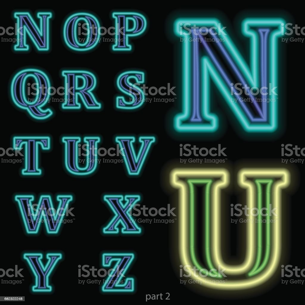 Luminous neon alphabet Vector font. The color of light is easily changed. Neon letters on a dark blue background isolated. Latin characters. Part 2 vector art illustration