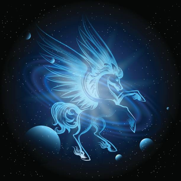 Luminous Pegasus In Space Vector Art Illustration