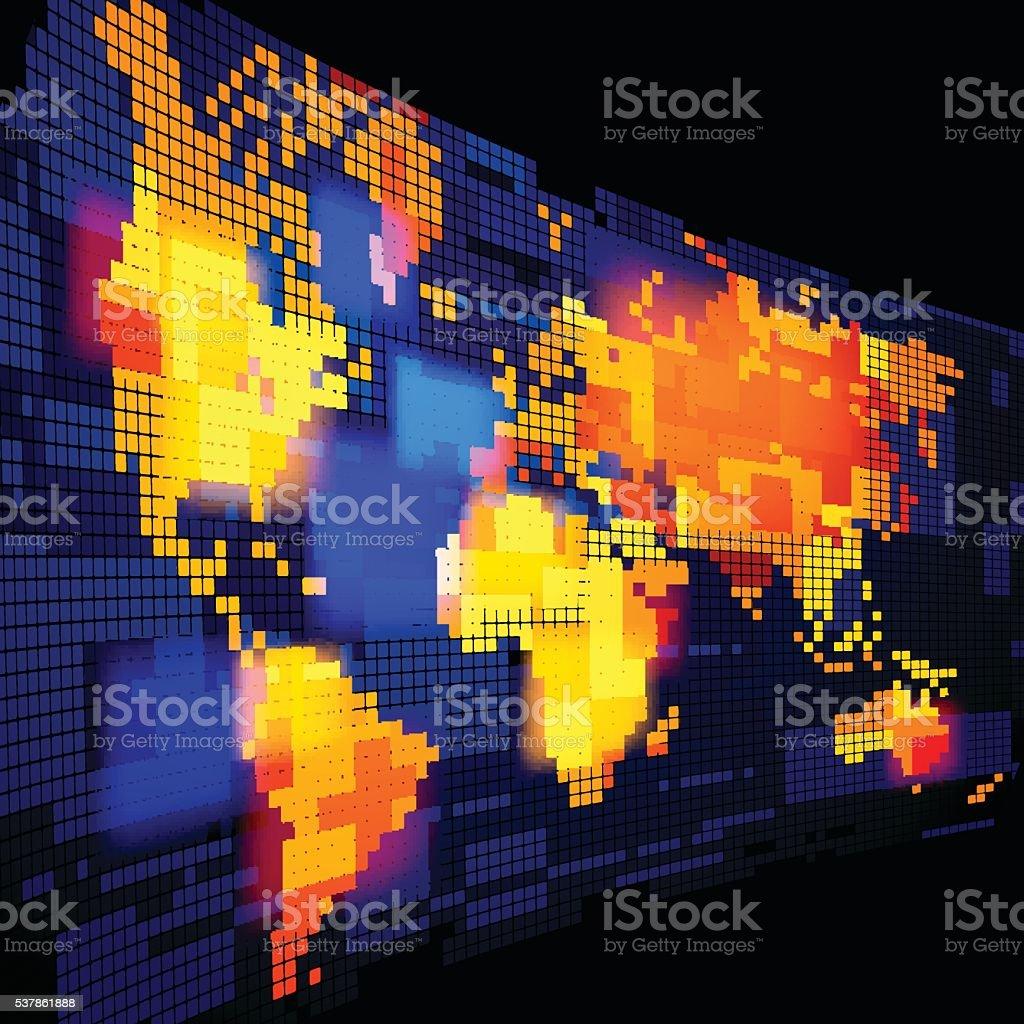 Luminous world map vector art illustration