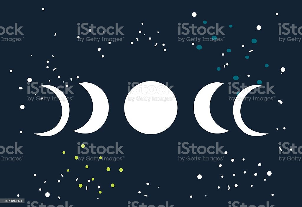 Lunar eclipse Moon phases circle with stars space background vector art illustration