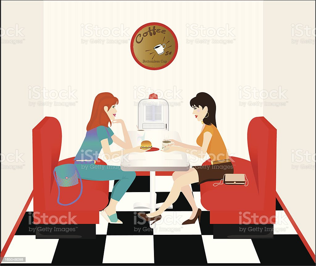 Lunch at the Diner vector art illustration