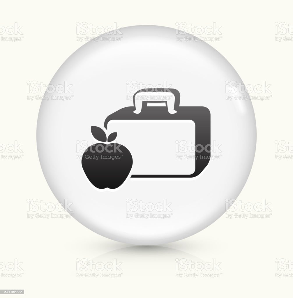 Lunch Box and Apple icon on white round vector button vector art illustration