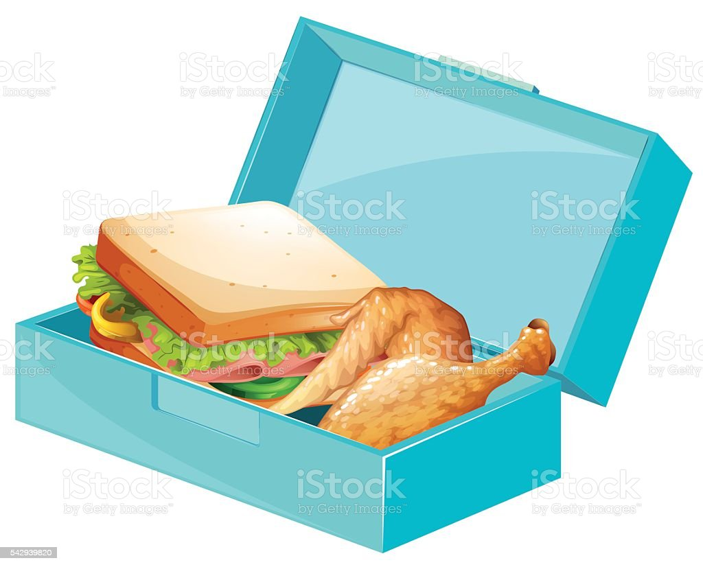 Lunch box with sandwiches and fried chicken vector art illustration