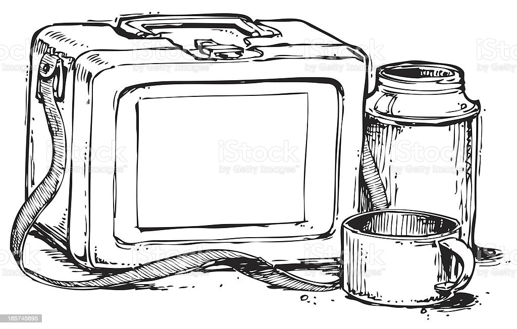 Lunch Box With Thermos vector art illustration