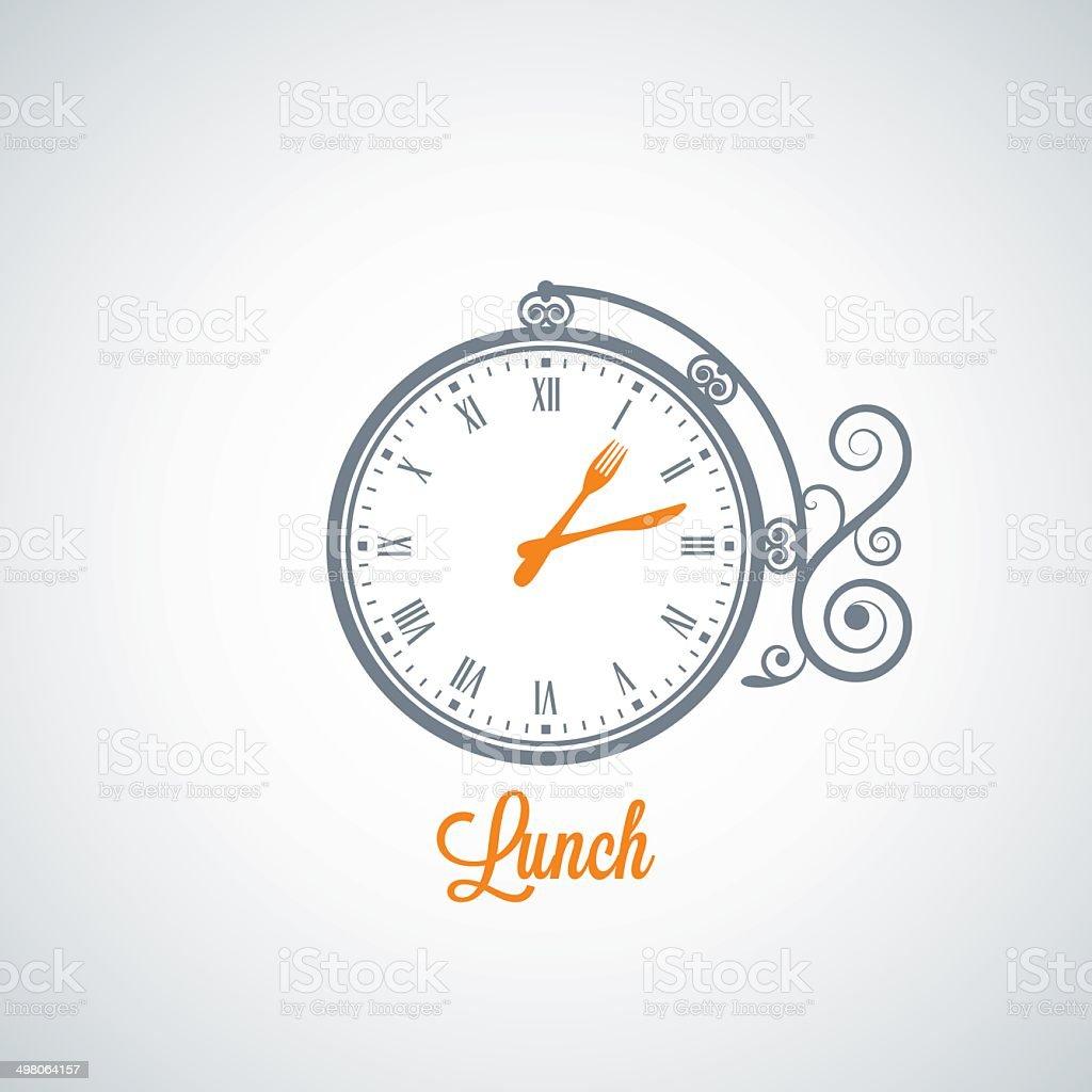 lunch clock concept background vector art illustration