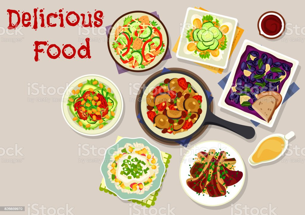 Lunch dishes with salads icon for menu design vector art illustration