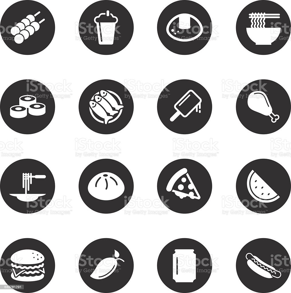 Lunch Icons - Black Circle Series vector art illustration