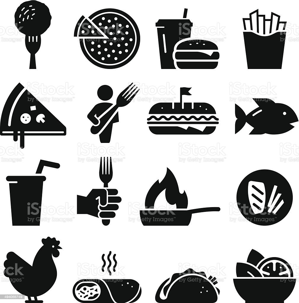 Lunch Icons - Black Series vector art illustration