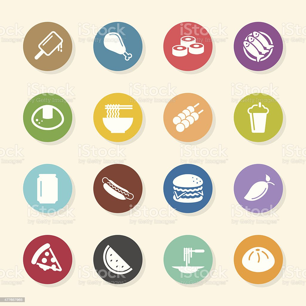 Lunch Icons - Color Circle Series vector art illustration