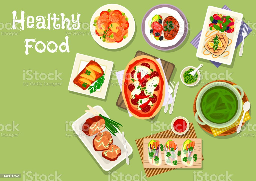 lunch meal dishes icon for healthy food design vector art illustration