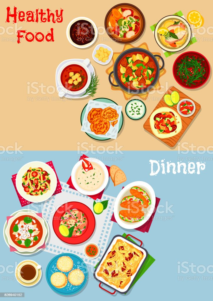 Lunch menu icon set with main dishes and dessert vector art illustration