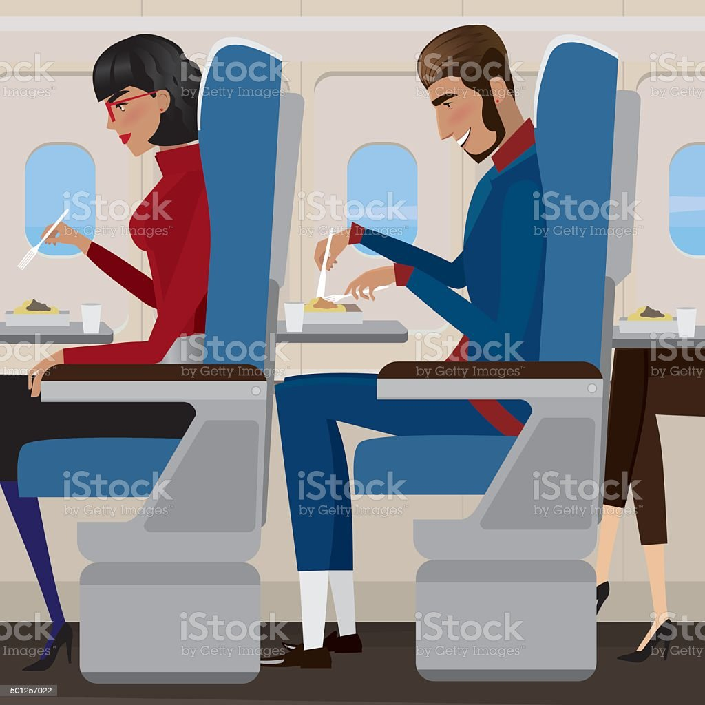 Lunch on the plane vector art illustration