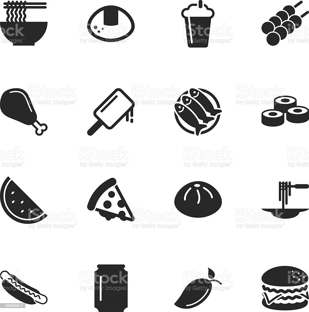 Lunch Silhouette Icons vector art illustration