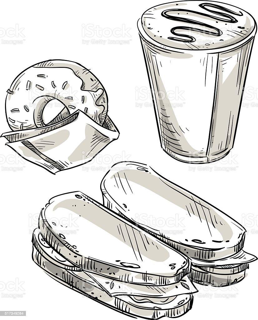 Lunch. Snack. Fast food. Takeaway. Vector sketch. vector art illustration