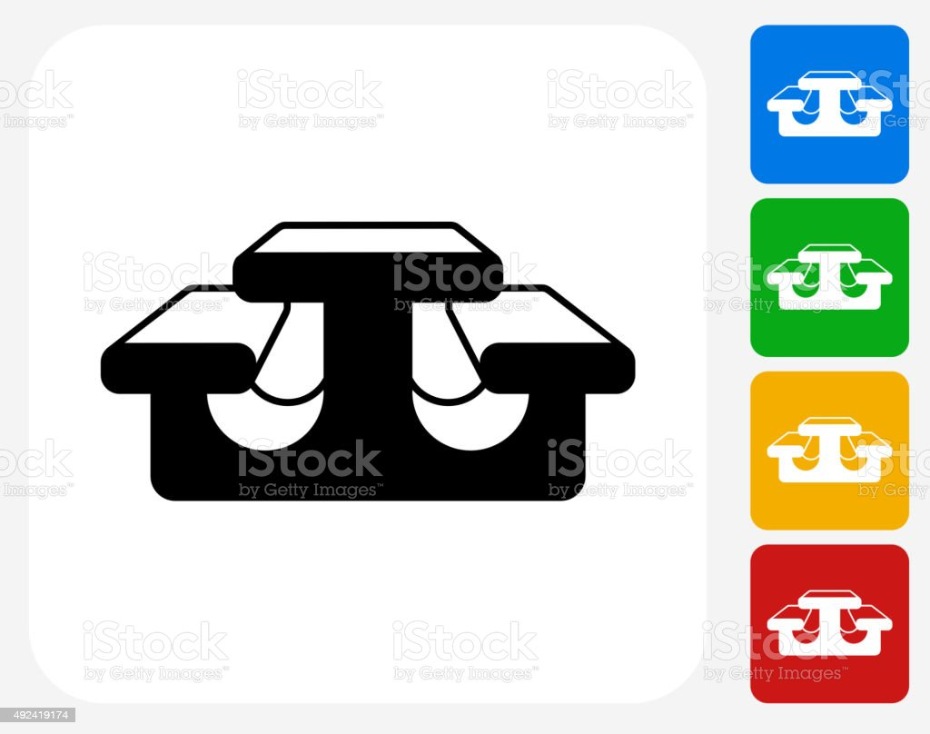 Lunch Table Icon Flat Graphic Design vector art illustration
