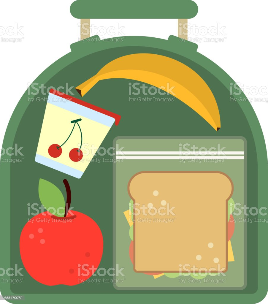 Lunchbox with food. Meal, apple and sandwich. Healthy cartoon vector illustration vector art illustration