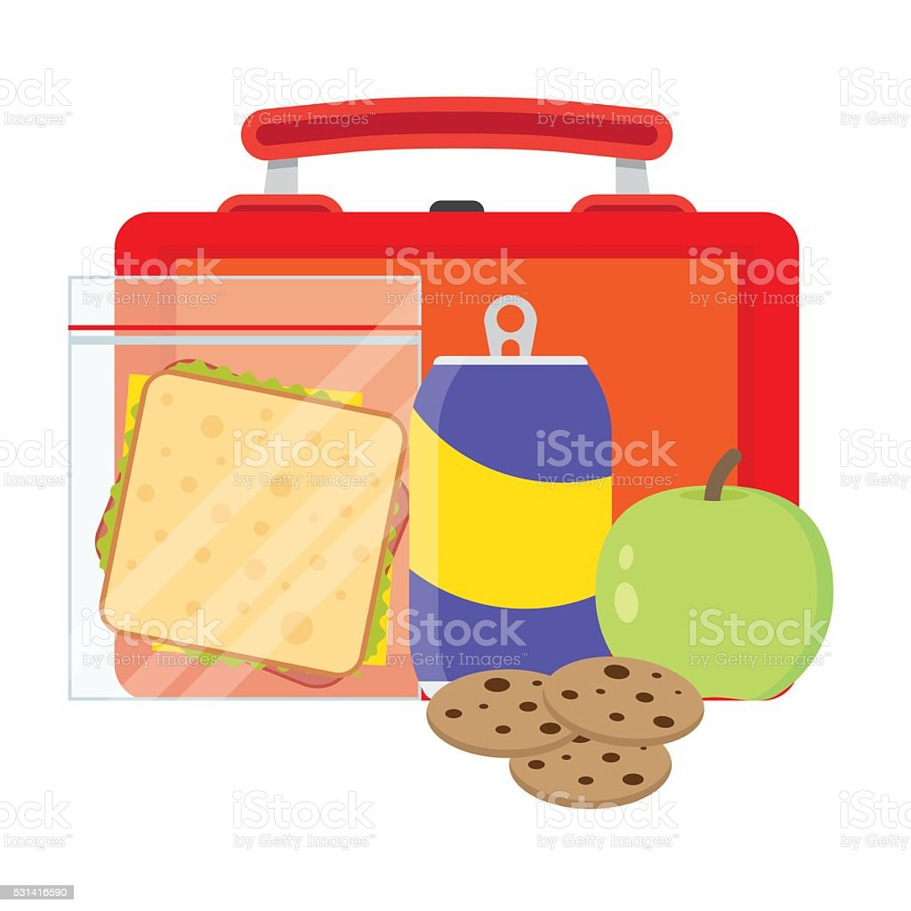 Lunchbox with school lunch vector art illustration