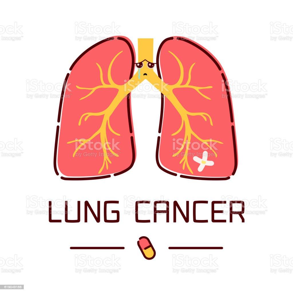 Lung cancer cartoon poster vector art illustration