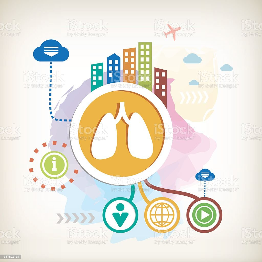 Lungs and city on abstract colorful water color background vector art illustration