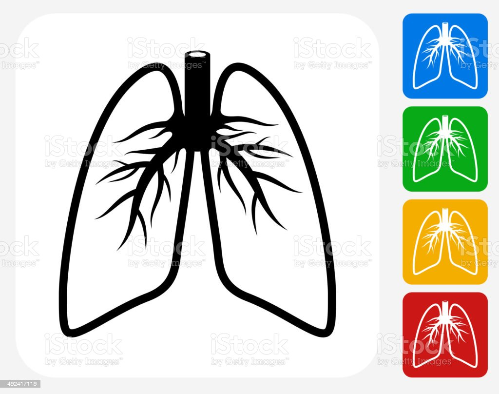 Lungs Icon Flat Graphic Design vector art illustration
