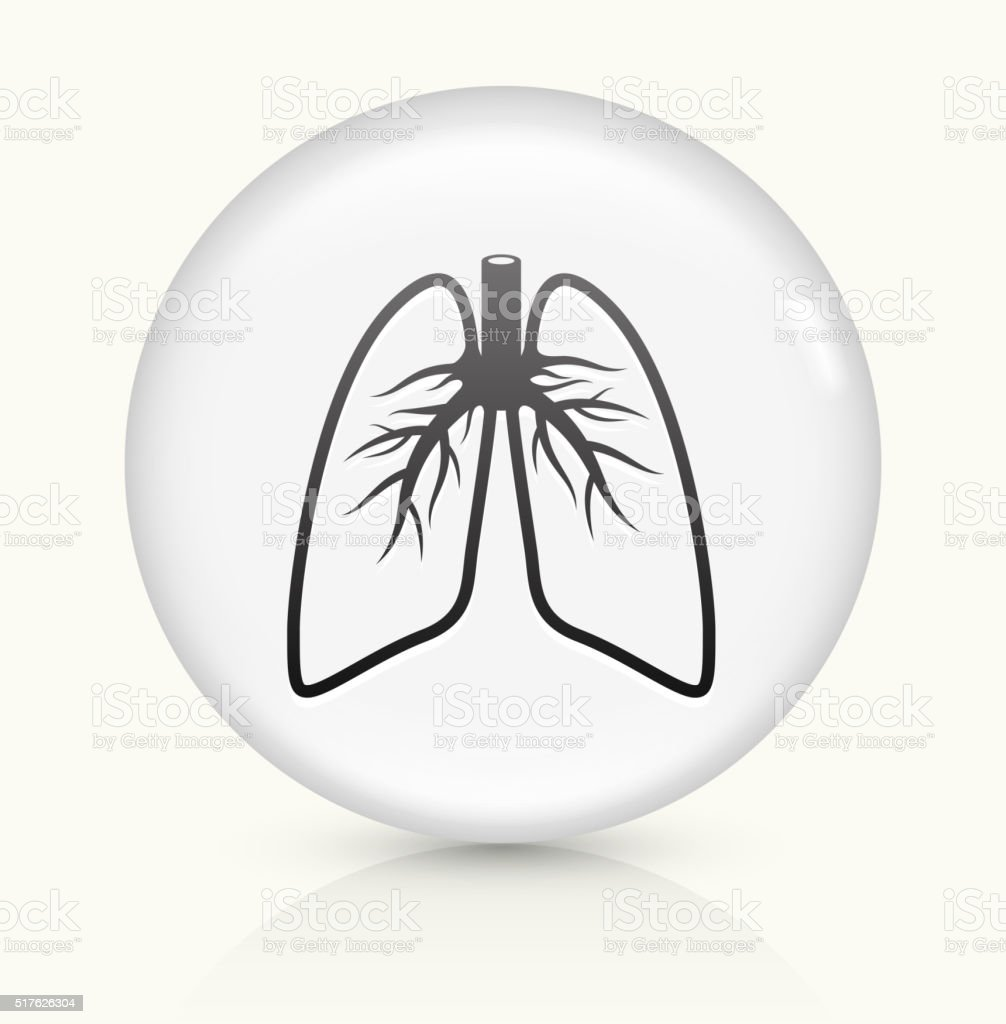 Lungs icon on white round vector button vector art illustration