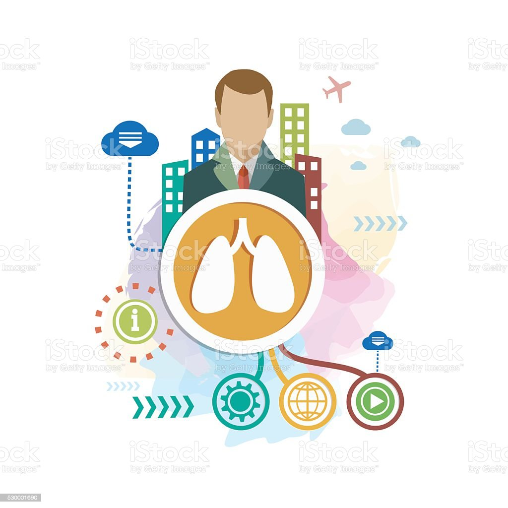Lungs on abstract colorful background with different icon vector art illustration