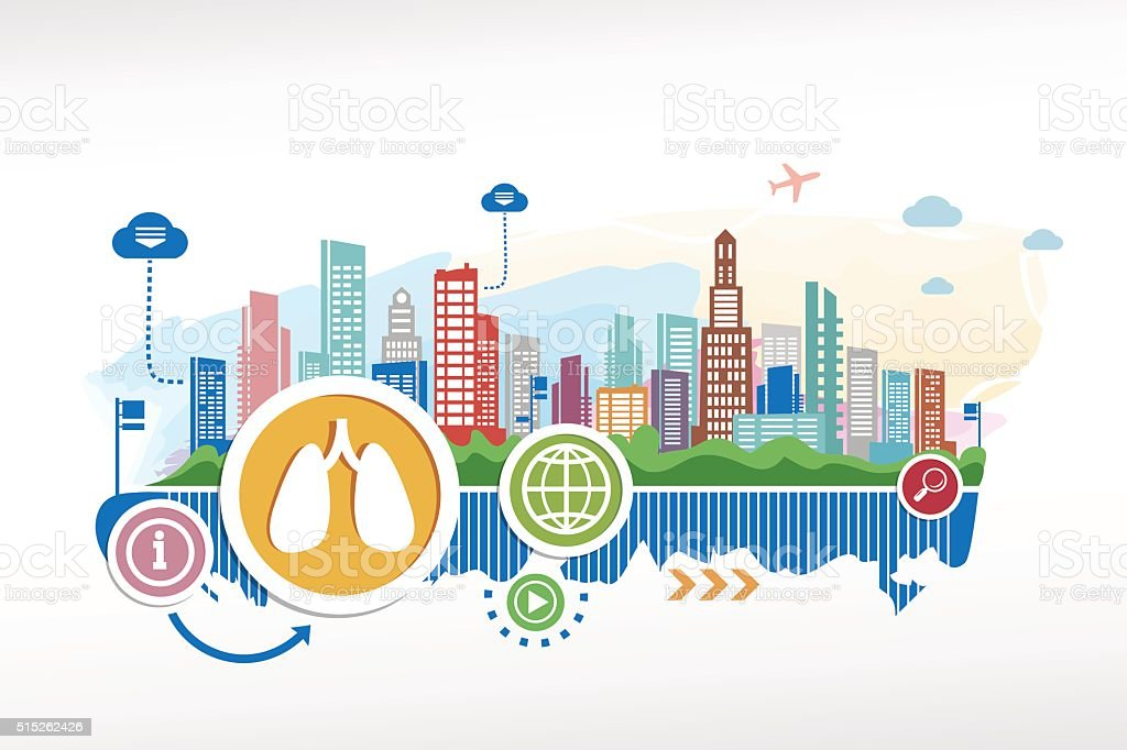 Lungs sign and cityscape background with different icon and elem vector art illustration