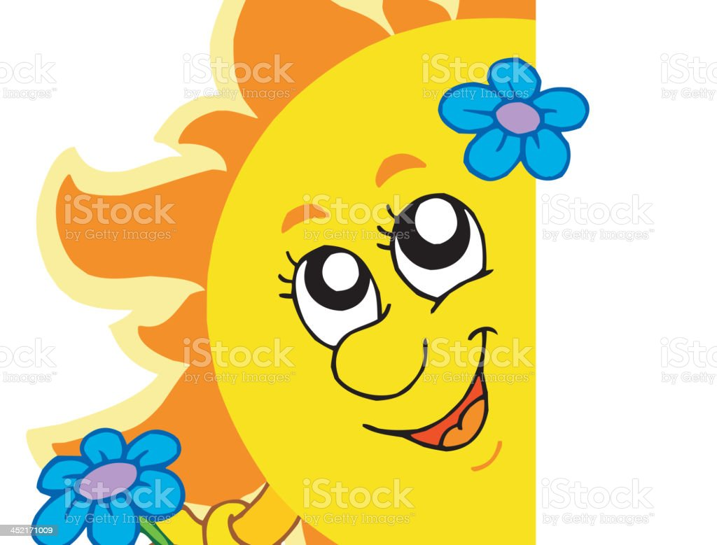 Lurking Sun with flower royalty-free stock vector art