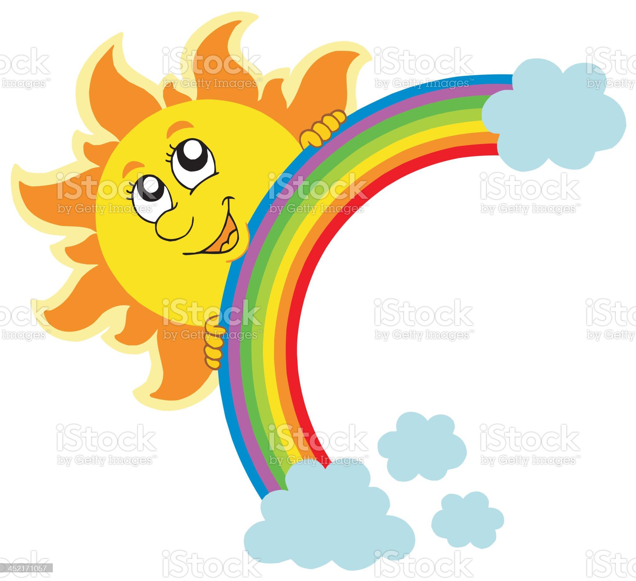 Lurking Sun with rainbow royalty-free stock vector art