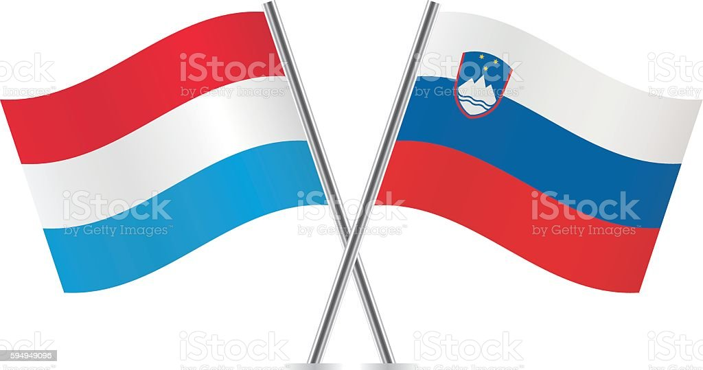 Luxembourg and Slovenian flags. vector art illustration