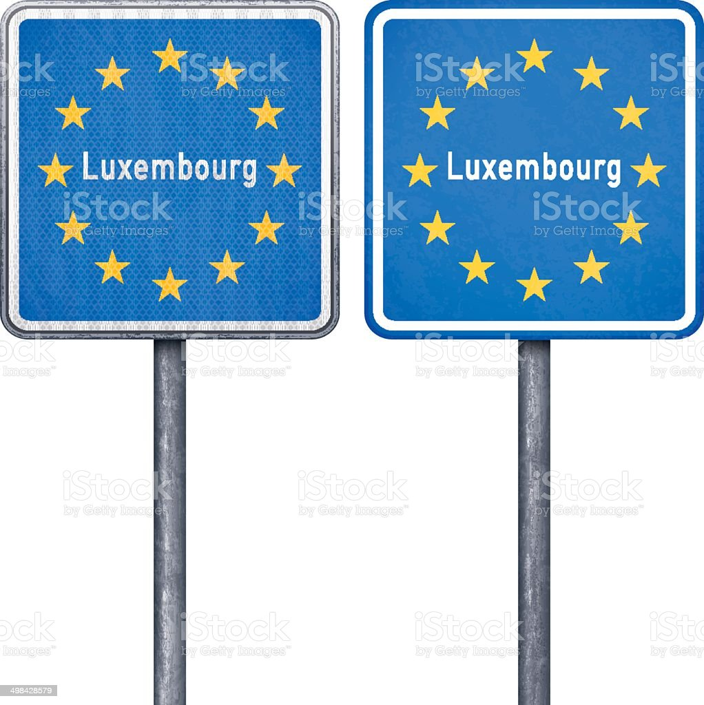 Luxembourg border road sign with European flag royalty-free stock vector art